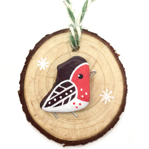 Robin - Hand-Painted Beach Pebble Christmas Tree Decoration (No. 1141)