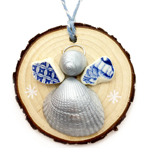 Angel - Cockle & Whelk Silver Shell & Beach Pottery Christmas Tree Decoration (No. 1143)