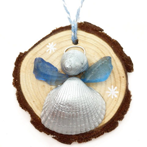 Angel - Cockle & Whelk Silver Shell & Sea Glass Christmas Tree Decoration (No. 1144)
