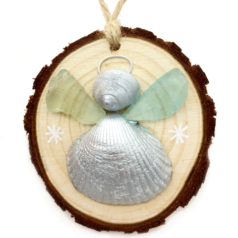 Angel - Cockle & Whelk Silver Shell & Sea Glass Christmas Tree Decoration (No. 1145)
