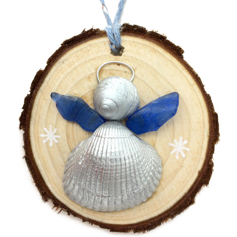 Angel - Cockle & Whelk Silver Shell & Sea Glass Christmas Tree Decoration (No. 1146)
