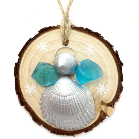 Angel - Cockle & Whelk Silver Shell & Sea Glass Christmas Tree Decoration (No. 1147)