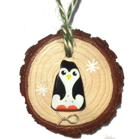 Penguin - Hand-Painted Beach Pebble Christmas Tree Decoration (No. 1148)