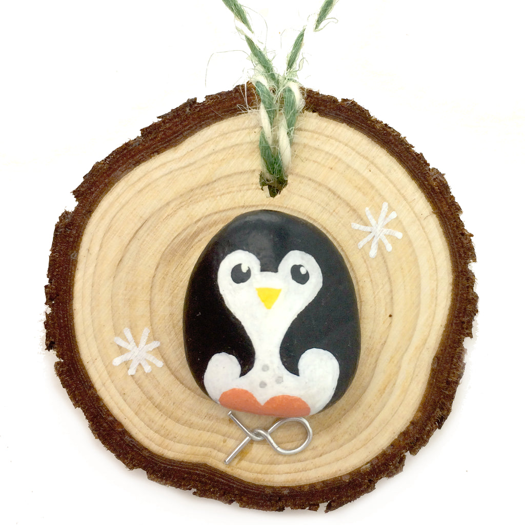 Penguin - Hand-Painted Beach Pebble Christmas Tree Decoration (No. 1149)