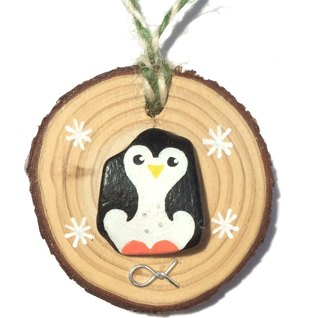 Penguin - Hand-Painted Beach Pebble Christmas Tree Decoration (No. 1150)