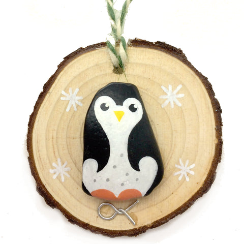 Penguin - Hand-Painted Beach Pebble Christmas Tree Decoration (No. 1151)