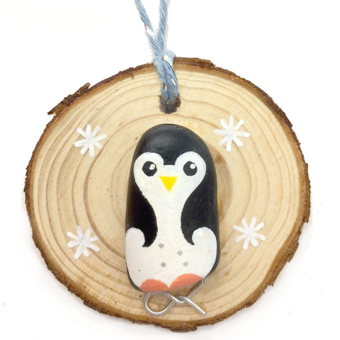 Penguin - Hand-Painted Beach Pebble Christmas Tree Decoration (No. 1152)