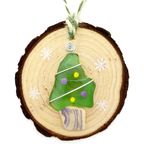Green Seaglass & Beach Pottery Christmas Tree Decoration (No. 1156)