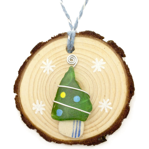 Green Seaglass & Beach Pottery Christmas Tree Decoration (No. 1157)