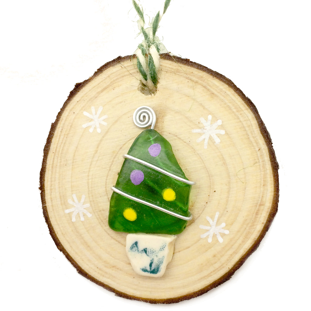 Green Seaglass & Beach Pottery Christmas Tree Decoration (No. 1158)