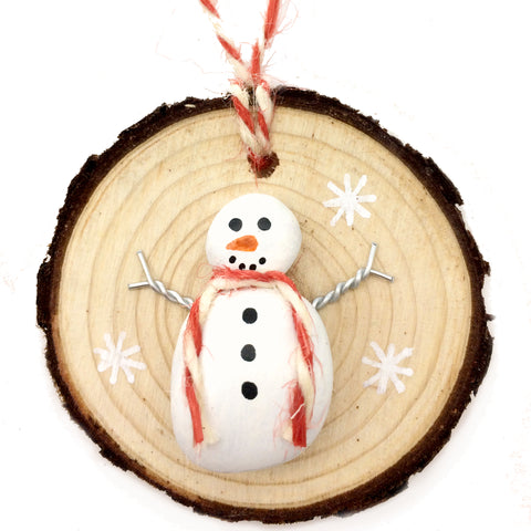 Snowman - Beach Pebble Hand-Painted Christmas Tree Decoration (1159)