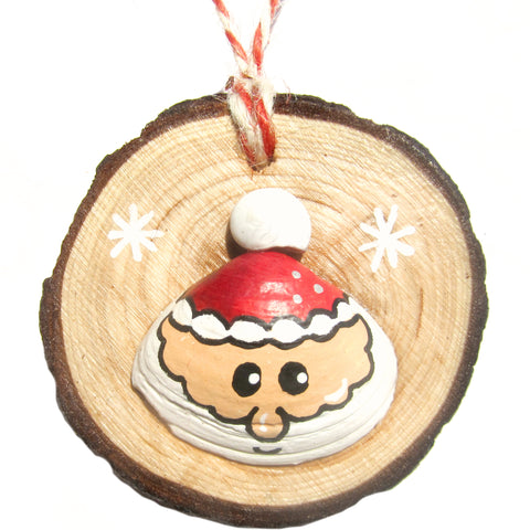 Santa - Hand-Painted Sea Shell Christmas Tree Decoration (1168)