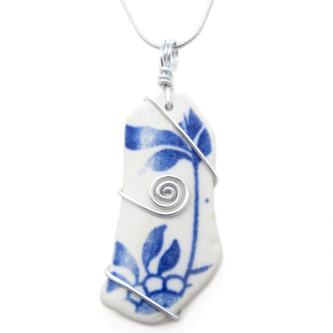 Blue & White Floral Antique Beach Pottery Celtic Swirl Pendant Necklace (No. 1177)