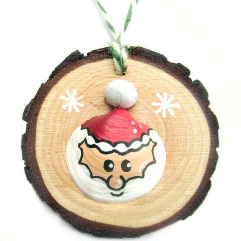 Santa - Hand-Painted Sea Shell Christmas Tree Decoration (1180)