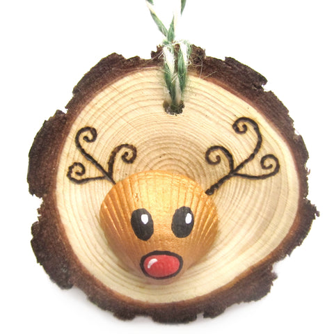 Rudolph the Reindeer - Cockle Shell Christmas Tree Decoration (No. 1188)