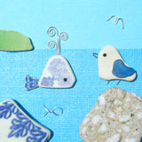 Seagull & Antique Pottery Whale - Beach Pebble Art Framed Picture (No. 1189)