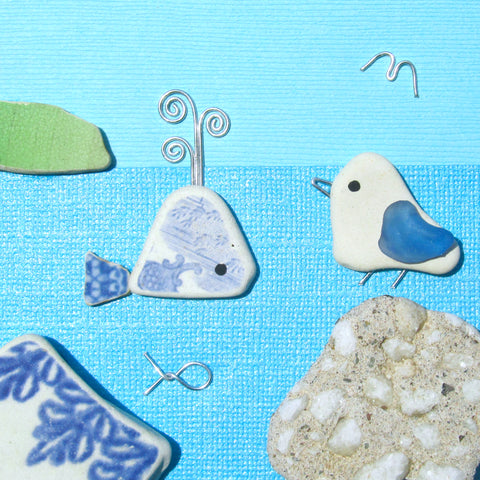 Pebble Seagull & Antique Pottery Whale - Framed Pebble Beach Collage (No. 1189)