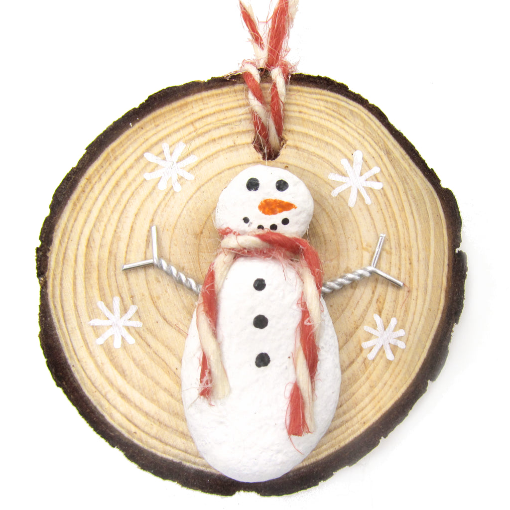 Snowman - Beach Pebble Hand-Painted Christmas Tree Decoration (1191)