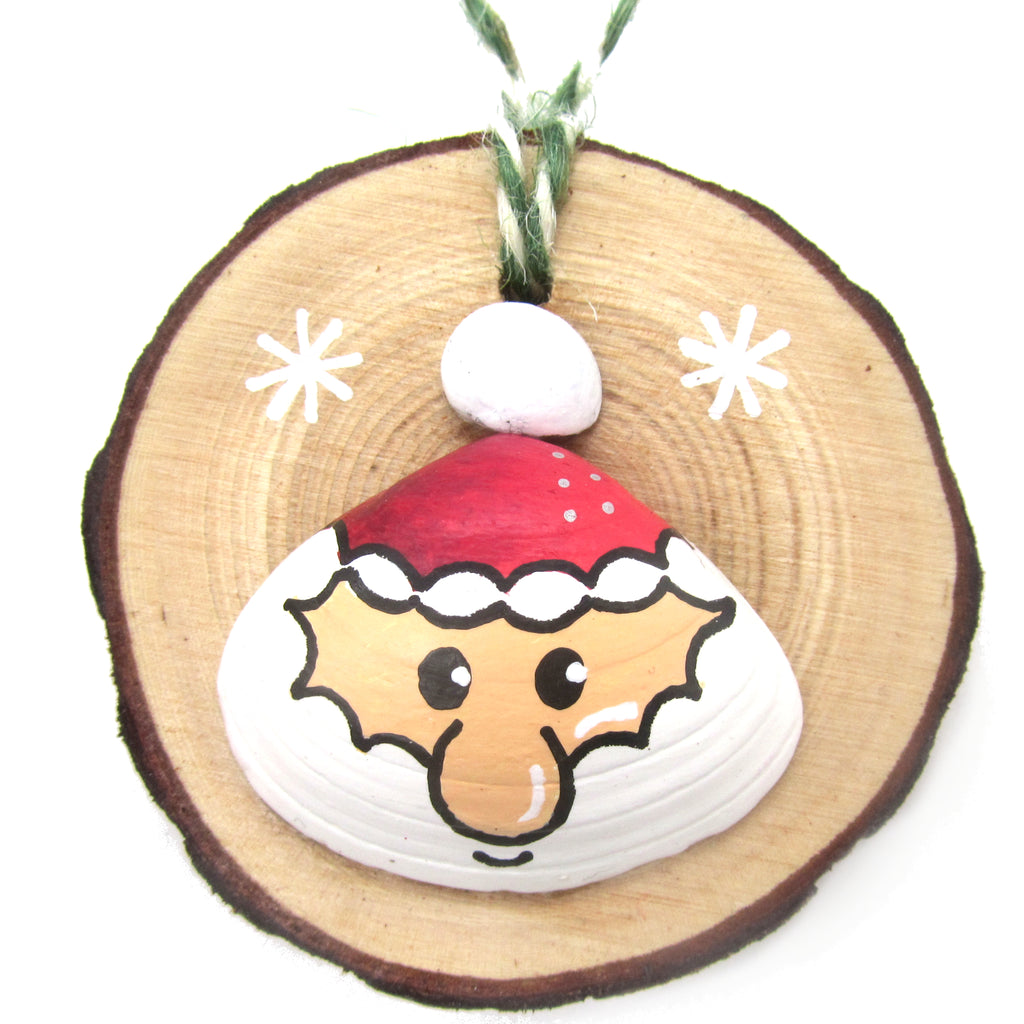 Santa - Hand-Painted Sea Shell Christmas Tree Decoration (1192)