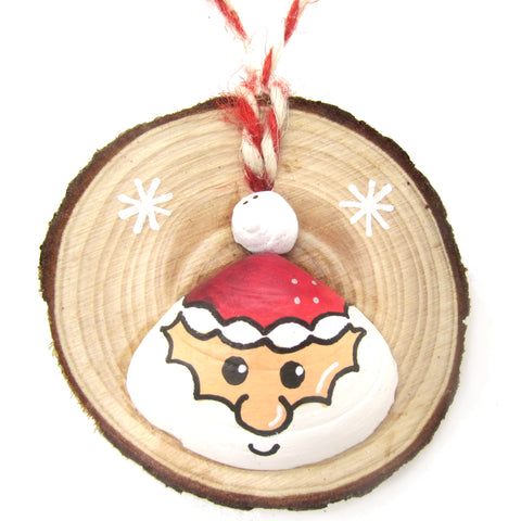 Santa - Hand-Painted Sea Shell Christmas Tree Decoration (1195)