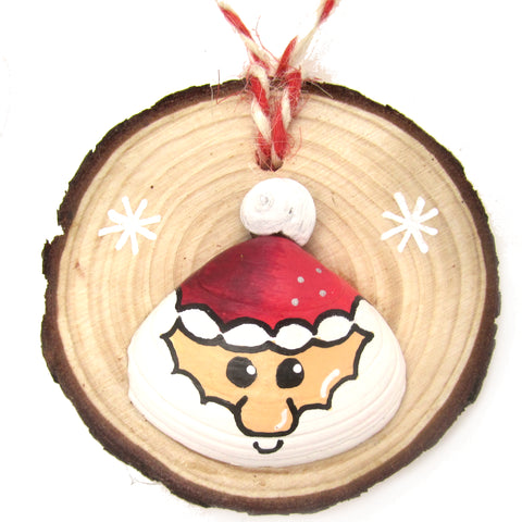 Santa - Hand-Painted Sea Shell Christmas Tree Decoration (1196)