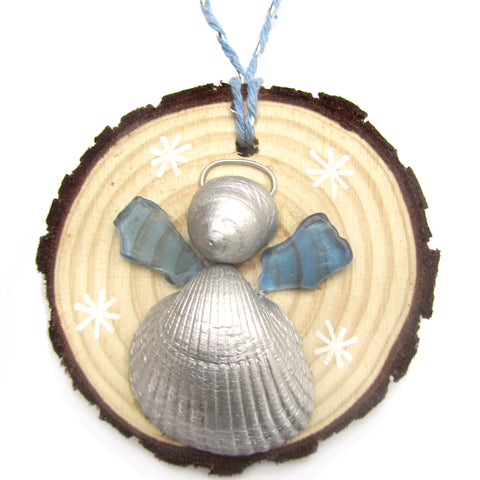 Angel - Cockle & Whelk Silver Shell & Blue Sea Glass Christmas Tree Decoration (No. 1210)