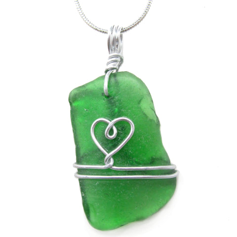 Emerald Green Scottish Sea Glass Love Heart Pendant Necklace (No. 1211)