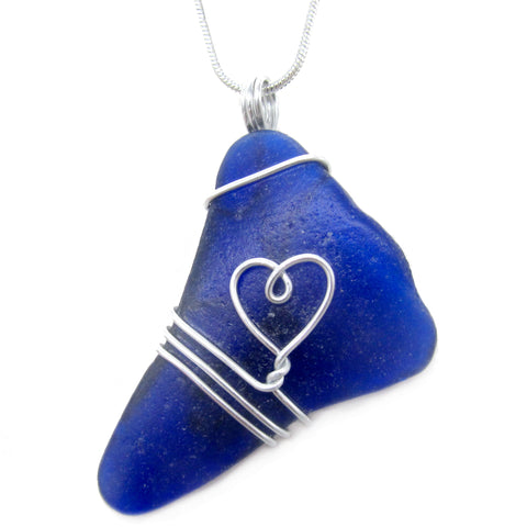 Rare Cobalt Blue Scottish Sea Glass Love Heart Pendant Necklace (No. 1212)