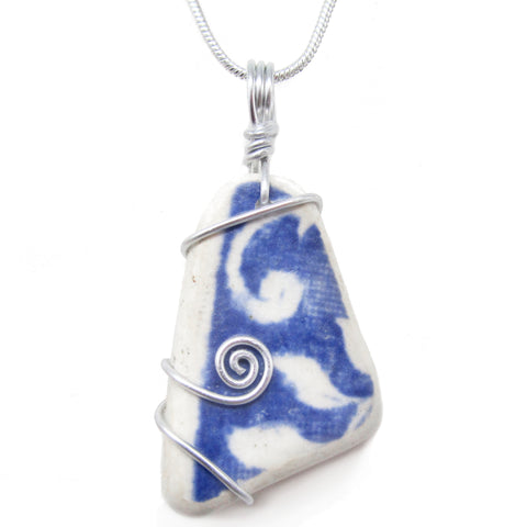Blue & White Antique Beach Pottery Celtic Swirl Pendant Necklace (No. 1215)