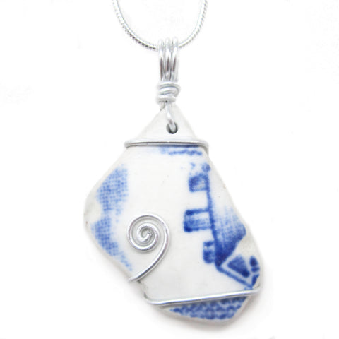 Blue & White 'Cottage' Pattern Antique Beach Pottery Celtic Swirl Pendant Necklace (No. 1216)