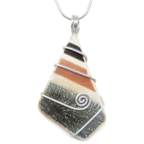Green & Brown Stripy Antique Beach Pottery Celtic Swirl Pendant Necklace (No. 1219)