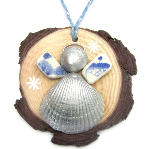 Angel - Cockle & Whelk Silver Shell & Beach Pottery Christmas Tree Decoration (No. 1222)