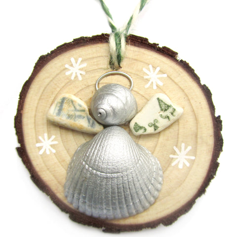 Angel - Cockle & Whelk Silver Shell & Beach Pottery Christmas Tree Decoration (No. 1221)