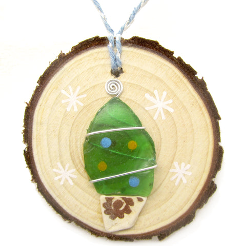 Green Sea Glass & Beach Pottery Christmas Tree Decoration (No. 1223)
