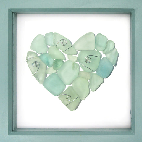 Scottish Pale Green Sea Glass Love Heart - Beach Pebble Art Framed Picture (No. 1227)