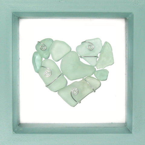 Scottish Sea Glass Pale Green Love Heart - Beach Art - Mini Framed Picture (No. 1228)
