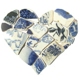 Antique Blue & White Sea Pottery Love Heart - Large Beach Pebble Art Framed Picture (No. 1229)