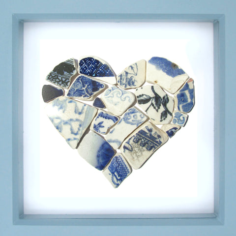 Antique Blue & White Beach Pottery Love Heart - Large Framed Beach Collage (No. 1229)