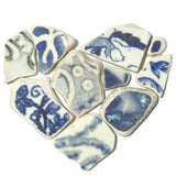 Antique Blue & White Beach Pottery Love Heart - Pebble Art - Mini Framed Picture (No. 1230)