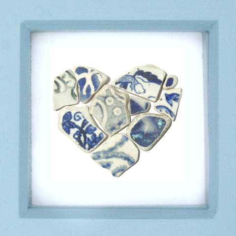Antique Blue & White Beach Pottery Love Heart - Small Framed Beach Collage (No. 1230)