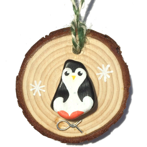 Penguin - Hand-Painted Beach Pebble Christmas Tree Decoration (No. 1233)