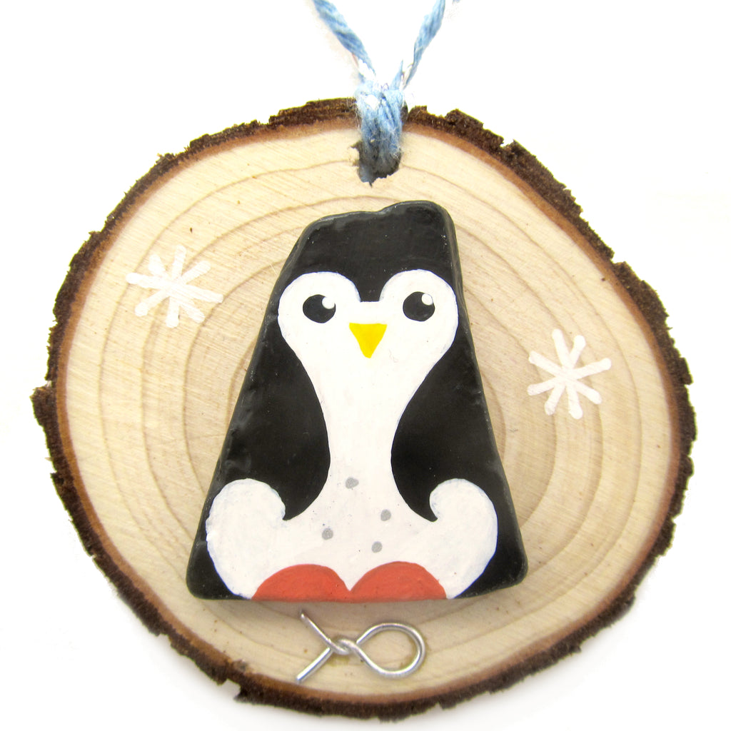 Penguin - Hand-Painted Beach Pebble Christmas Tree Decoration (No. 1234)