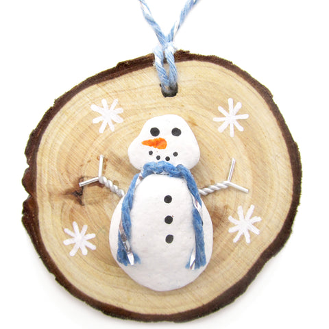 Snowman - Beach Pebble Hand-Painted Christmas Tree Decoration (No. 1235)