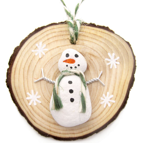 Snowman - Beach Pebble Hand-Painted Christmas Tree Decoration (No. 1236)