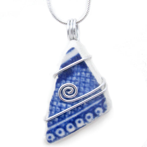 """Willow Pattern"" Antique Beach Pottery Celtic Swirl Pendant Necklace (No. 1239)"