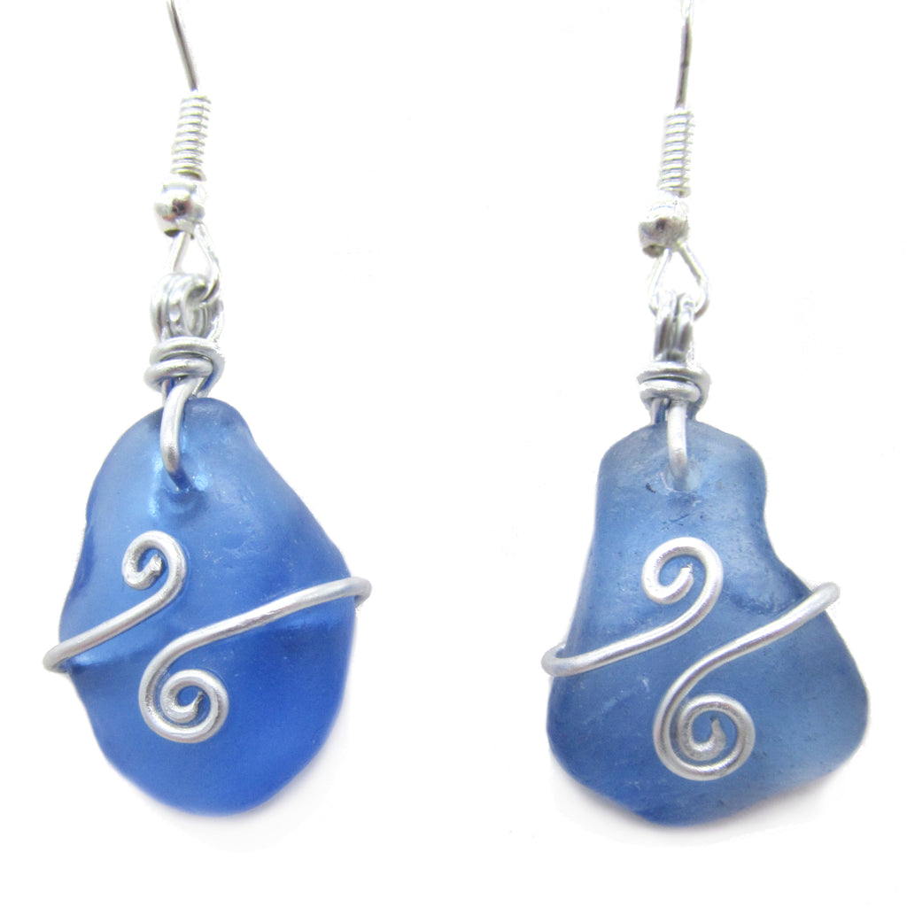 Scottish Sea Glass Earrings - Cobalt Blue with Celtic Swirls (No. 1241)