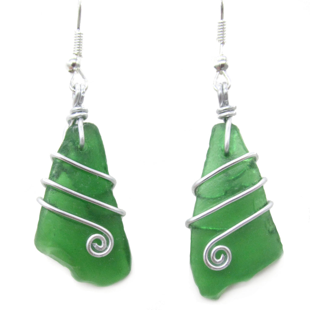 Scottish Sea Glass Earrings - Emerald Green with Celtic Swirls (No. 1243)