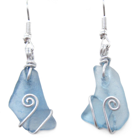 Scottish Sea Glass Earrings - Cornflower Blue with Celtic Swirls (No. 1244)