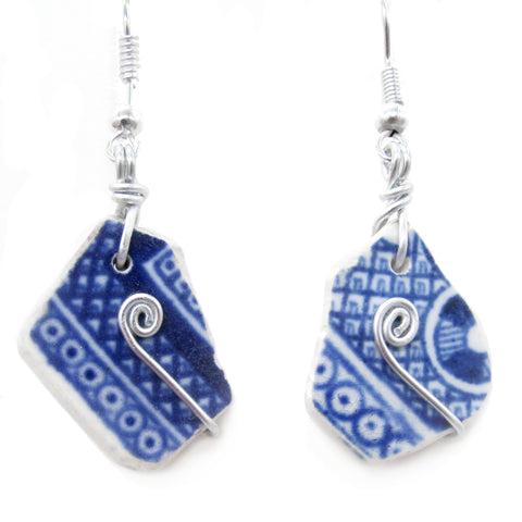 Scottish Sea Pottery Earrings - Willow Pattern with Celtic Swirls (No. 1245)
