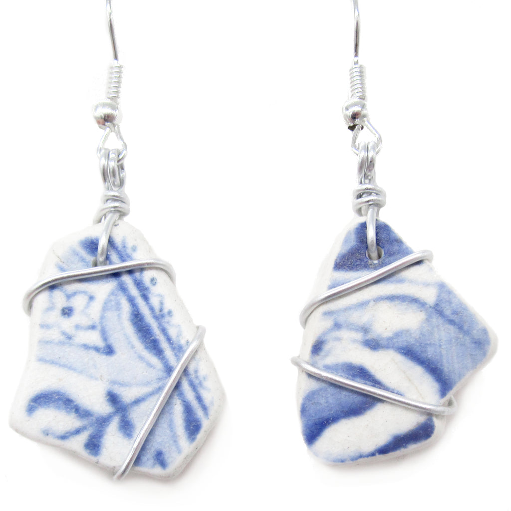 Scottish Sea Pottery Earrings - Blue & White with Celtic Swirls (No. 1246)